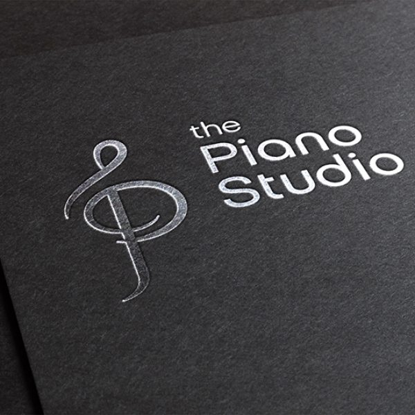 The Piano Studio logo - silver foil stamp by Henstra Design